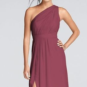 Long One-Shoulder Crinkle Chiffon Dress (size 0)